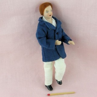 Miniature man father doll 1/12, articuled dolhouse character