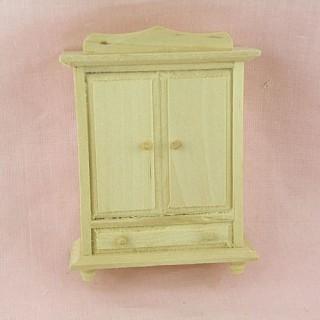 Armoire miniature maison poupée, bois brut .