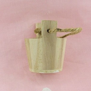 Wooden pail miniature for doll house,bucket 2,5cm