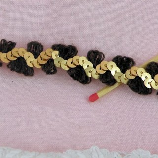 Wool braid with golden sequins 2cms