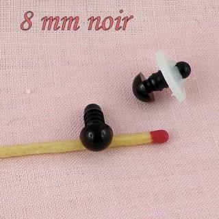 Yeux àfixer peluche 8 mm