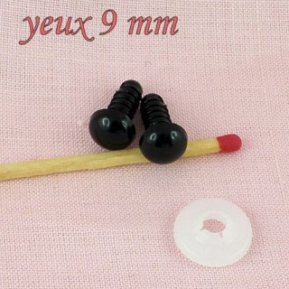 Plastic eyes, washable for bear or animal head, 8 mms