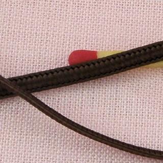Cordon bijoux, lacet plat cuir daim, 3 mm.