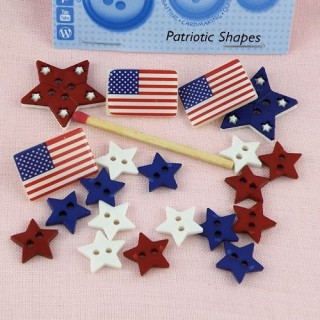 Buttons, America, flag, stars.