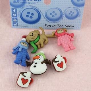 Buttons Dress it up, Christmas glitter buttons,