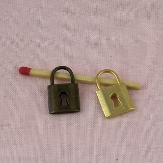 Padlock miniature, pendant,bracelet charm,doll jewel, 2 cm