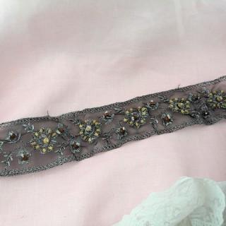 Galon brode argent et perles bois 6 cm