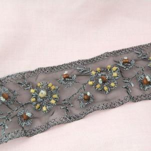 Vintage pleated ribbon gimp with metallic thread 5 cm, 50 mm