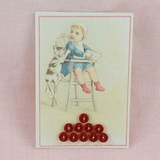 Carte rétro minis boutons plats, brillants.