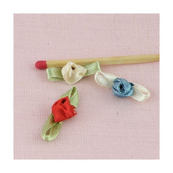 Small 7 mms rose ribbon with leaves