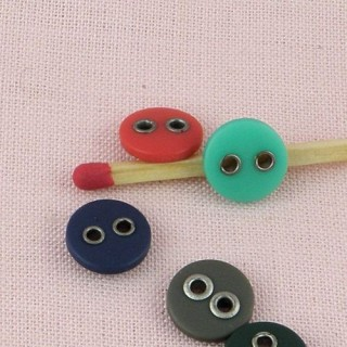 Plastic Button 8 mms edged metallic holes