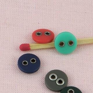 Bouton plastique bombé mat trous métal, 8 mm.