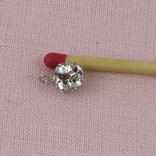 Metal ball with paste, bracelet charm, jewel doll, 6,5 mm diameter