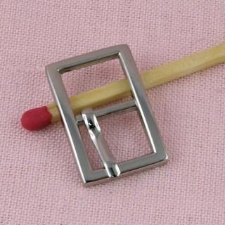 Boucle métal  petit rectangle fin,ceinture poupée, 1,9 cm.
