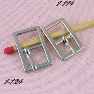 Small metal rectangular buckle miniature with a notch, 19 mms.