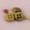 Wood buttons, wooden buttons 4 holes, 9 mms.