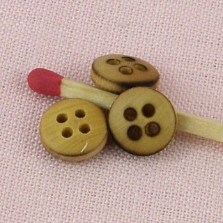 Wood buttons, wooden buttons 4 holes, 9 mms.