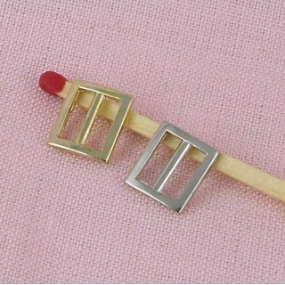 Tiny rectangular Buckle mini fastener, doll craft 1 cm