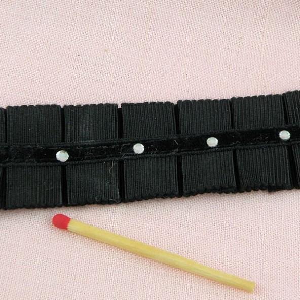 Galon double plis ruché strass 3 cm.