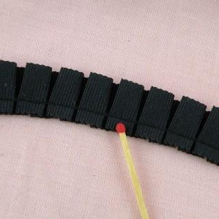 Galon, ruban double plis, ruché, en grosgrain, 2,6 cm.