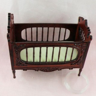 Baby mahogany bed miniature doll house, crib  13 cms.