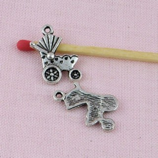 Pendant, charm, Baby carriage miniature, 2 cm.