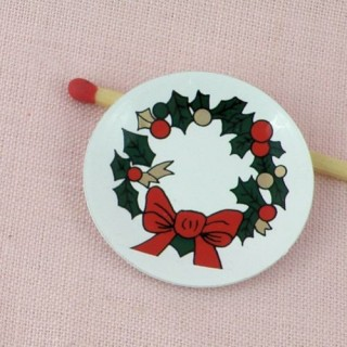 Doll miniature round Christmas metal dish,