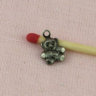 Metal bear decoration charm 8 mms.