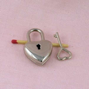 Heart Padlock miniature with key, leather craft, doll case, 40 mms