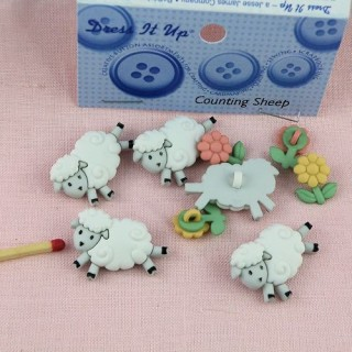 Animals for baby buttons:sheep Dress it up