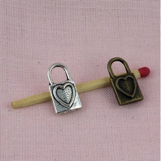 Padlock with heart miniature, pendant, bracelet charm, doll, 1,7 cms