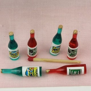 6 doll bottles miniature for doll house, 4 cms