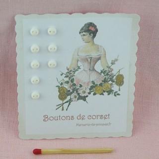 Carte rétro minis boutons boules, à pied nacrés mats.