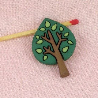Tree shank button with leaves 4 cm