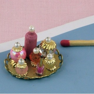 Vanity tray miniature, doll house Toiletries