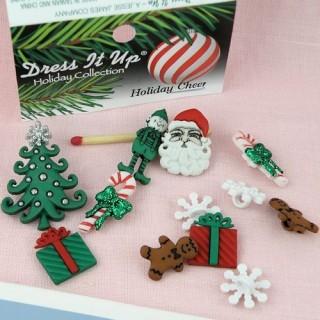 Bouton Noël cadeaux sapin Père Noël