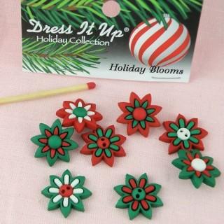Bouton Noël fleurs