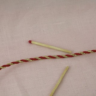 Twisted red and gold cord, braid 4 mms.