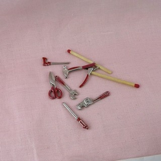 Carpenter miniature tools doll house 7 pieces