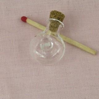 Bouteille mini en verre fiole ronde.