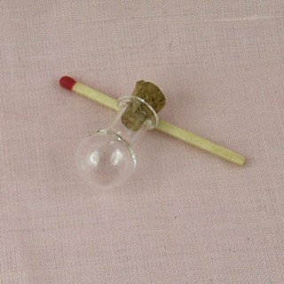 Bouteille mini en verre fiole ronde boule, 2 cm.