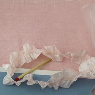 Ruban vichy volanté, plissé, rétro, 1,3  cm.