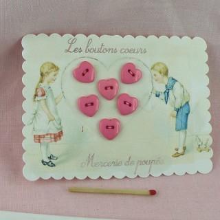 Tarjeta retro niños botones corazones.