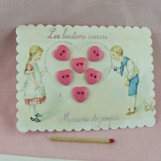 Vintage children card with heart buttons.