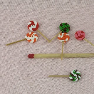 6 lollipops twists, candies miniature for doll house