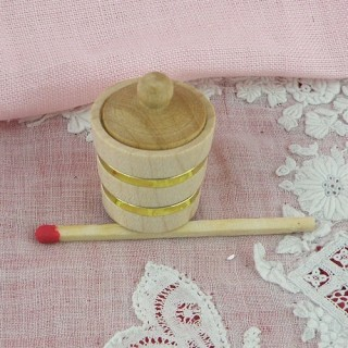 Pot tapa miniatura casa de madera muñeca