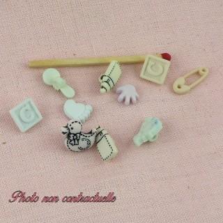 Knopf Baby Buchstaben 4 mm, Mischung von 10