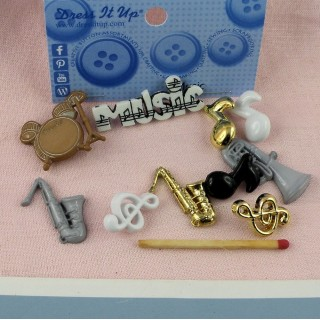 Buttons Dress it up, MUSICIAN, musical instruments.