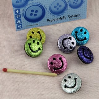 Lot boutons Smile, rétro, hippies, en sachet Dress it up.