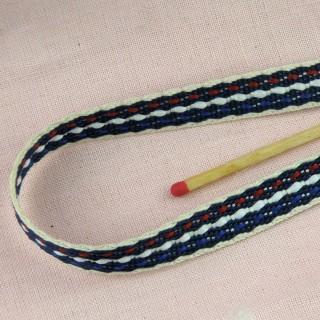 Ruban, galon sergé coton brodé rétro,  10 mm, 1cm.